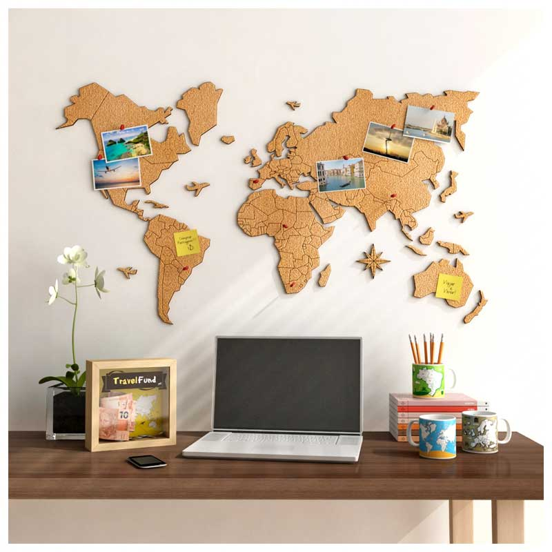 Mural Cortiça Adesivo Mapa-Múndi + 10 Pins Especiais My Places (Tamanhos 95x52cm/140x74cm)