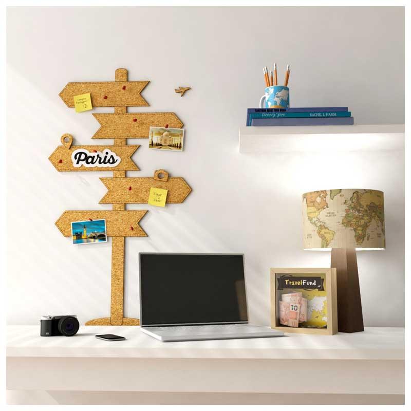 Mural de Cortiça Adesivo Placas de Destinos (Setas) + 10 Pins Especiais My Places (37x76cm)