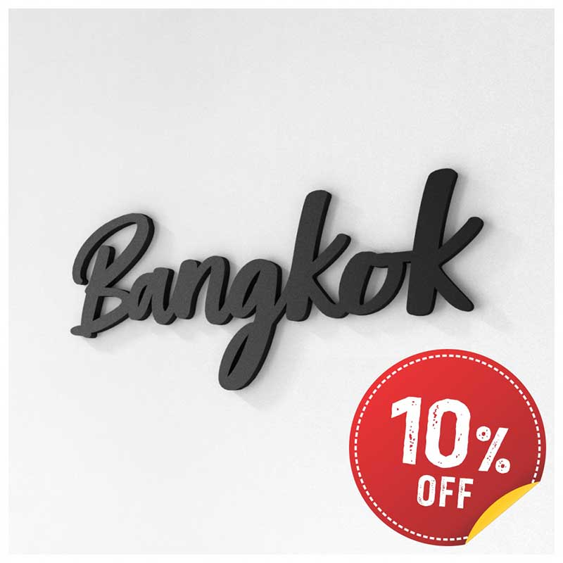 Palavra Decorativa de Parede (Linha Nomes Cidades) - Bangkok (32x13cm)