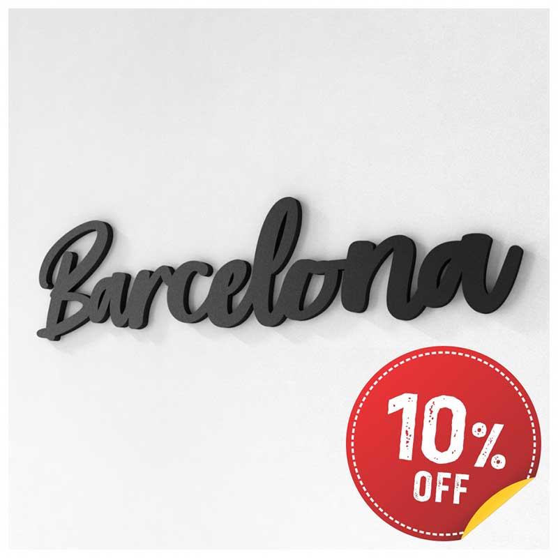 Palavra Decorativa de Parede (Linha Nomes Cidades) - Barcelona (40x10cm)