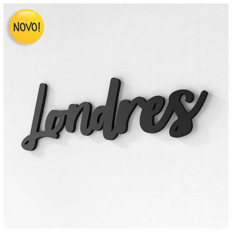 Palavra Decorativa de Parede (Linha Nomes Cidades) - Londres (32x12cm)