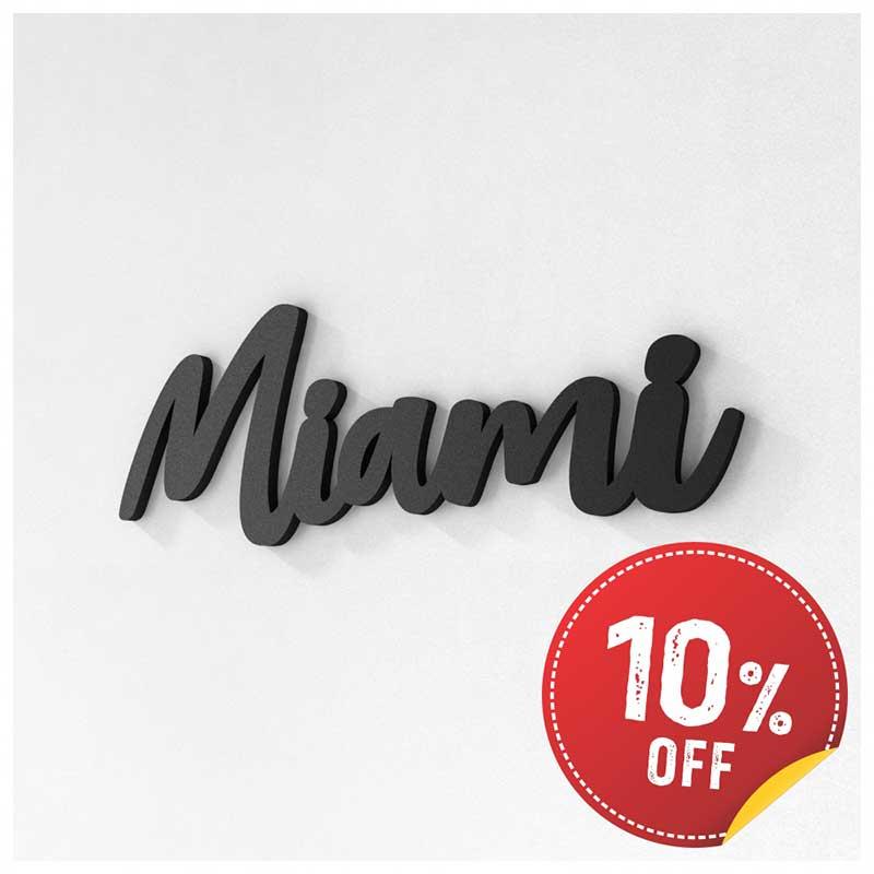 Palavra Decorativa de Parede (Linha Nomes Cidades) - Miami (28x10cm)