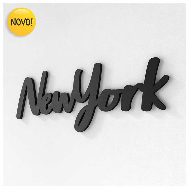 Palavra Decorativa de Parede (Linha Nomes Cidades) - New York (32x12cm)