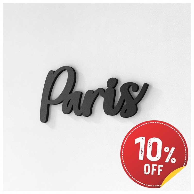 Palavra Decorativa de Parede (Linha Nomes Cidades) - Paris (22x11cm)
