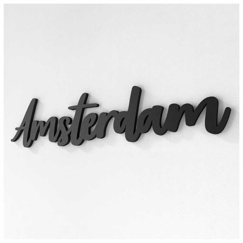 Palavra Decorativa de Parede (Linha Nomes Cidades) - Amsterdam (42x9,6cm)