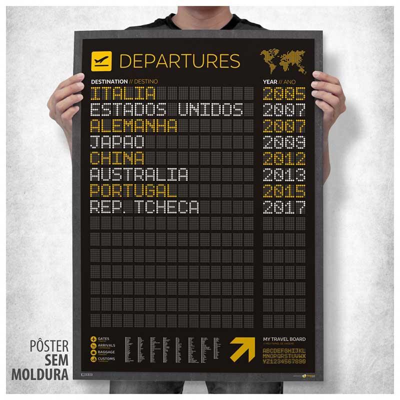 Pôster Meu Painel de Embarque - Departures A1 (59x84cm) + Adesivos p/ Listar os Destinos