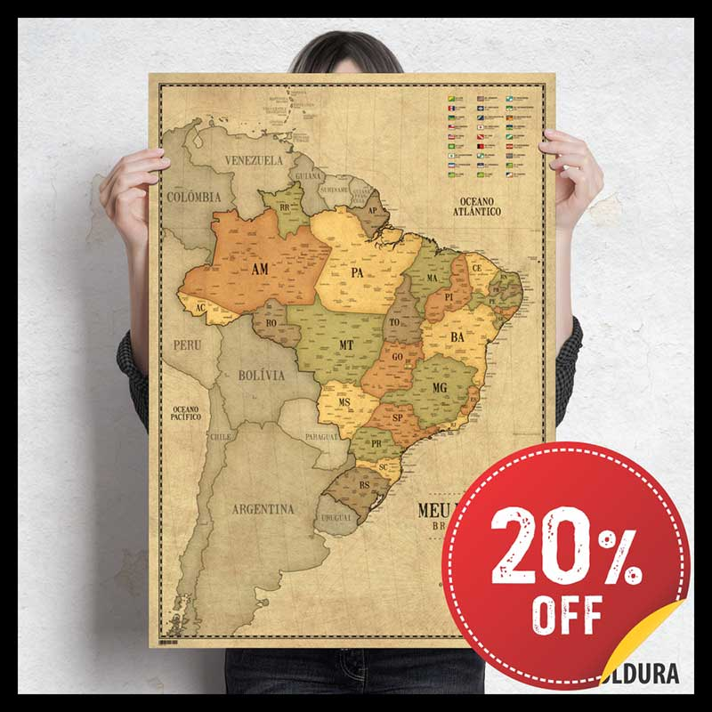 Pôster Mapa do Brasil Vintage A1 (59x84cm) + 220 Pins Adesivos p/ Marcar suas Viagens