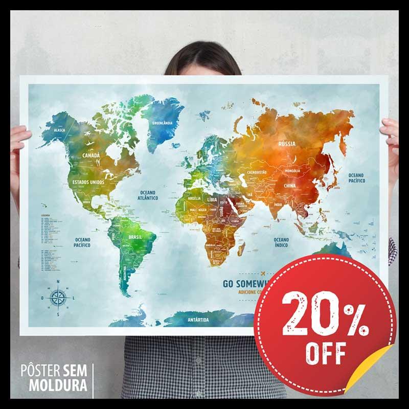 Pôster Mapa-Múndi Color (Aquarela) A1 (84x59cm) + 220 Pins Adesivos p/ Marcar os Lugares Visitados