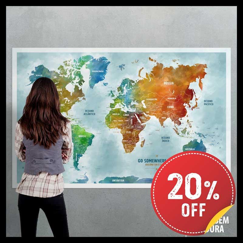 Pôster Mega Mapa-Múndi Color (Aquarela) (140x90cm) + 220 Pins Adesivos