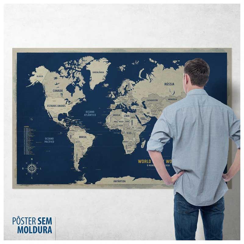 Pôster Mega Mapa-Múndi Azul (Urban) (140x90cm) + 220 Pins Adesivos