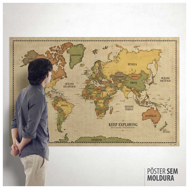 Pôster Mega Mapa-Múndi Vintage (140x90cm) + 220 Pins Adesivos