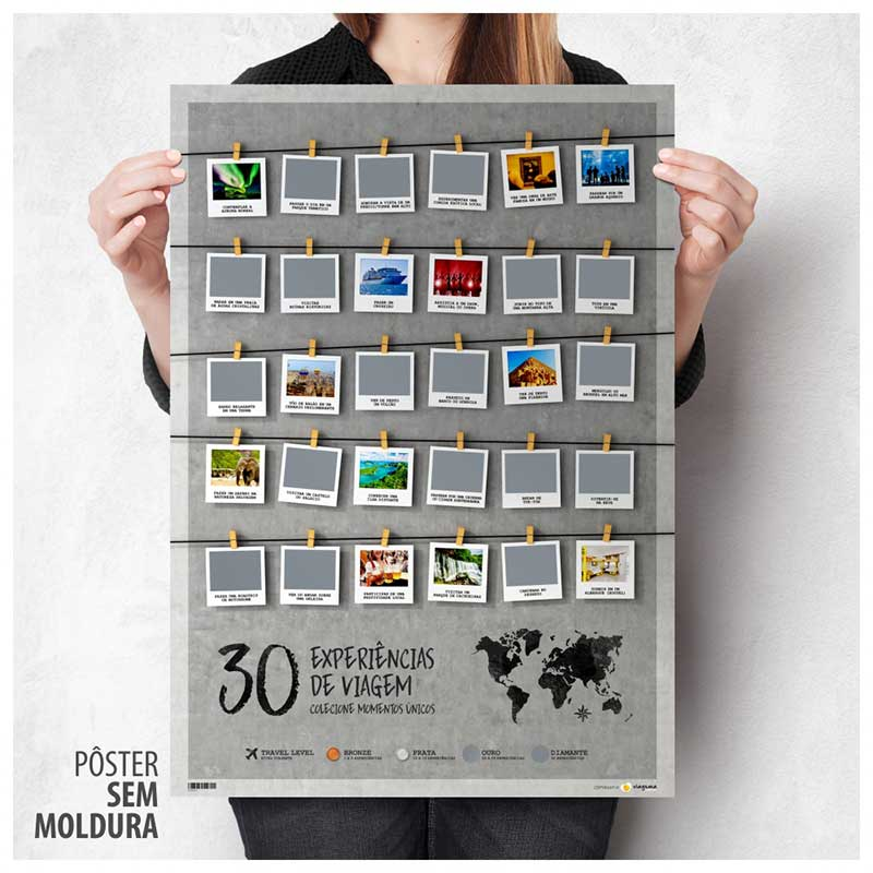 Pôster Raspadinha A2 - 30 Experiências de Viagem - Colecione Momentos Únicos (42x59cm)