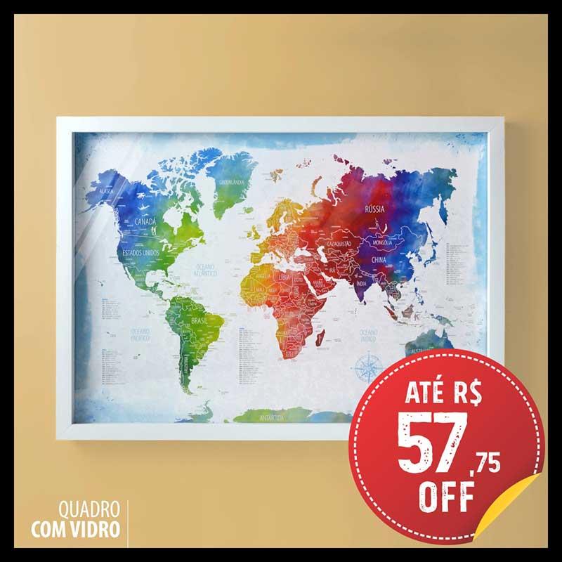 Quadro Box (c/ Vidro) - Mapa-Múndi Aquarela + 100 Pins Alfinetes (Tamanhos 45x32cm/63x45cm)