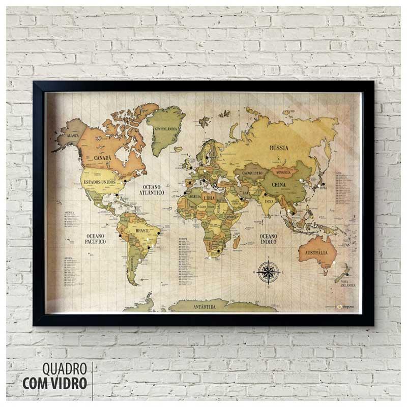 Quadro Box (c/ Vidro) - Mapa-Múndi Retrô (Vintage) + 100 Pins Alfinetes (Tamanhos 45x32cm/63x45cm)