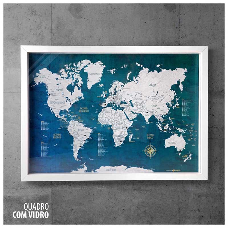 Quadro Box (c/ Vidro) - Mapa-Múndi Urban + 100 Pins Alfinetes (Tamanhos 45x32cm/63x45cm)