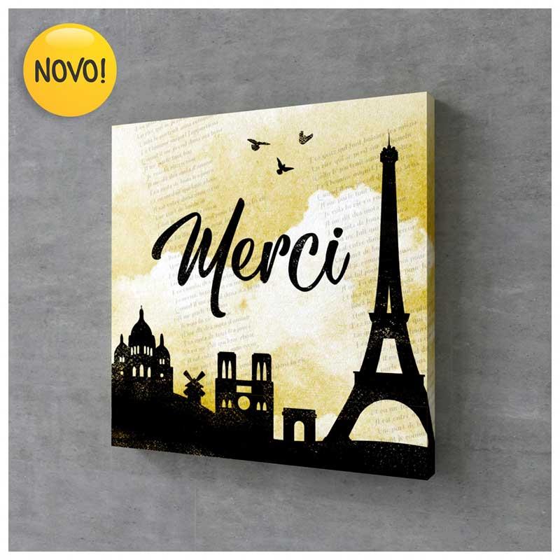 Quadro Canvas Gratidão - Merci (França) (25x25cm)