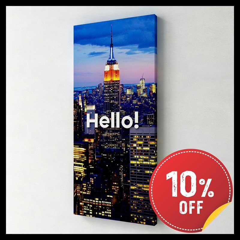 Quadro Decorativo Canvas - Hello New York (Estados Unidos) (25x55cm)