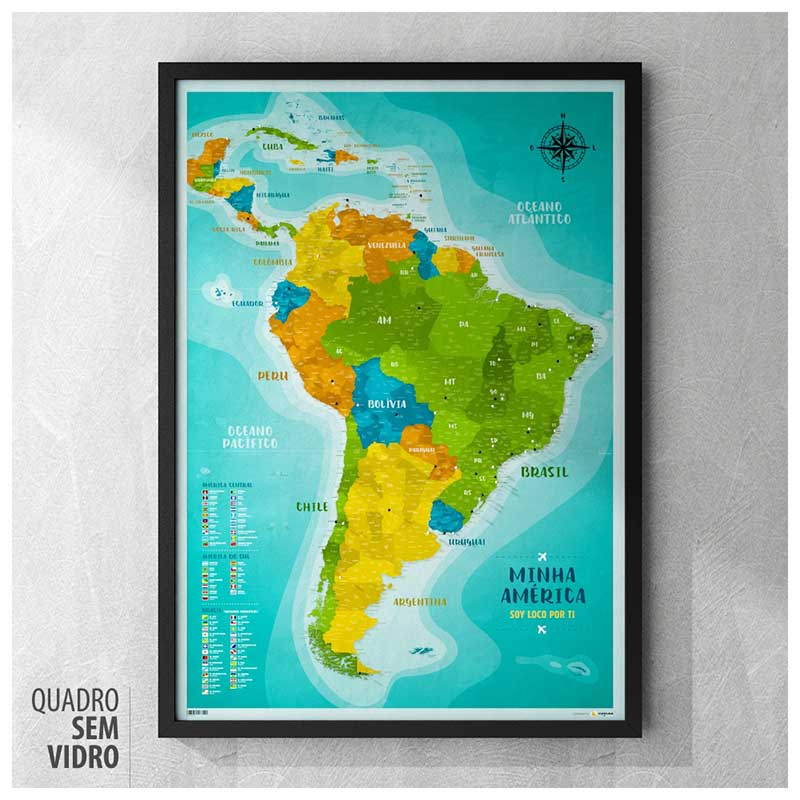 Quadro - Mapa América do Sul e Central A1 + 100 Pins Alfinetes (62x87cm)