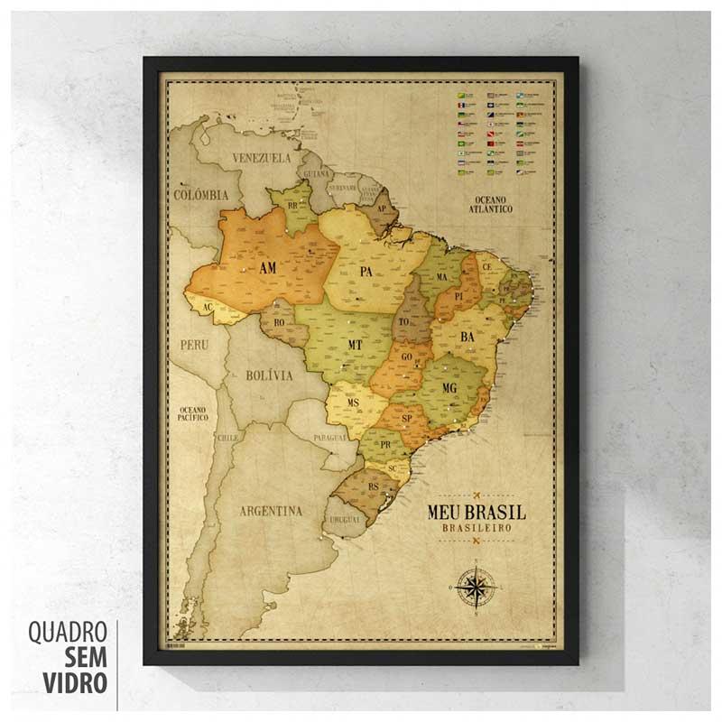 Quadro - Mapa do Brasil Vintage A1 + 100 Pins Alfinetes (62x87cm)