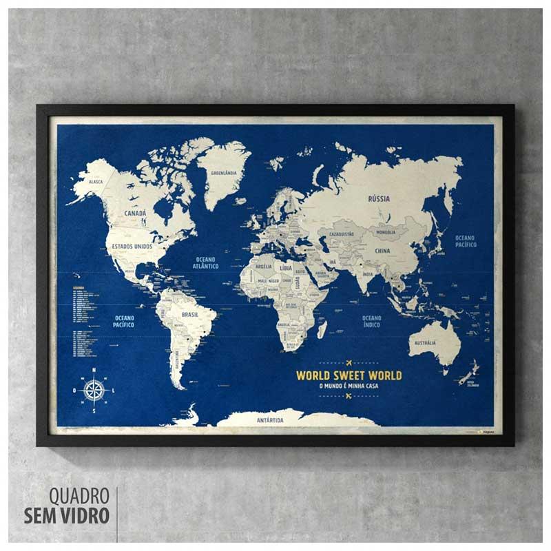 Quadro - Mapa-Múndi Azul (Urban) A1 + 100 Pins Alfinetes (87x62cm)