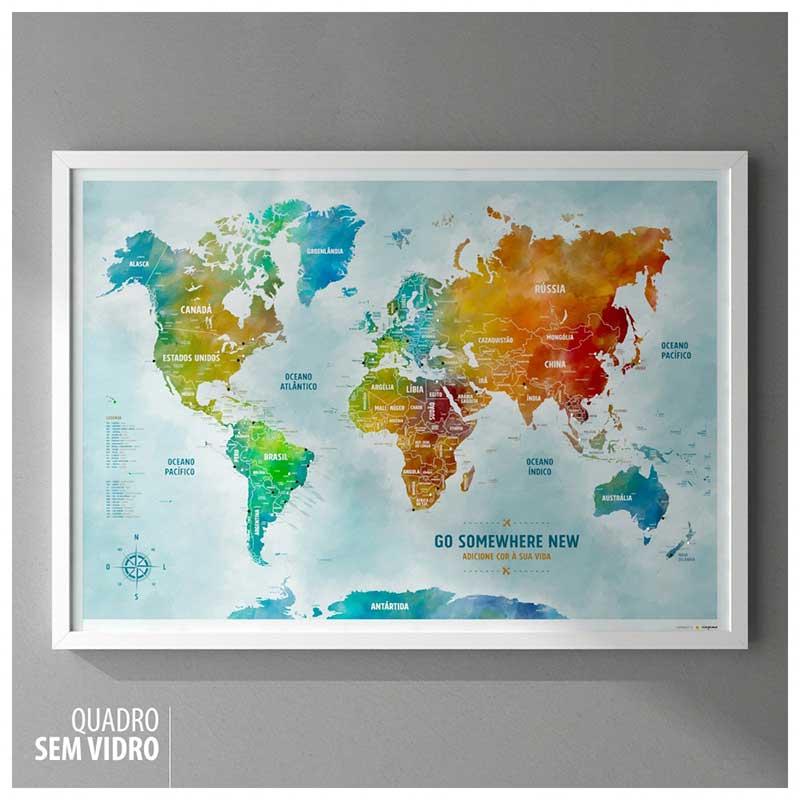 Quadro - Mapa-Múndi Color (Aquarela) A1 + 100 Pins Alfinetes (87x62cm)