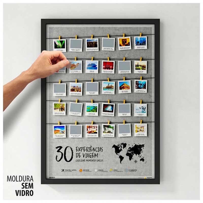 Quadro Raspadinha - 30 Experiências de Viagem - Colecione Momentos Únicos (45x63cm)