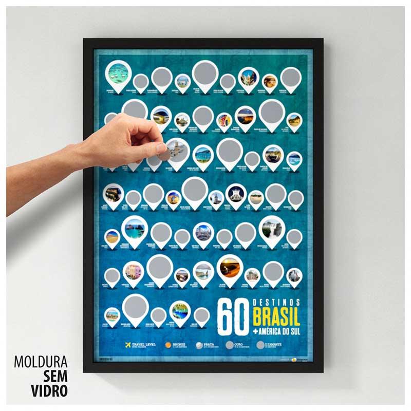 Quadro Raspadinha - 60 Destinos Brasil + América do Sul - Colecione Lugares Incríveis (45x63cm)