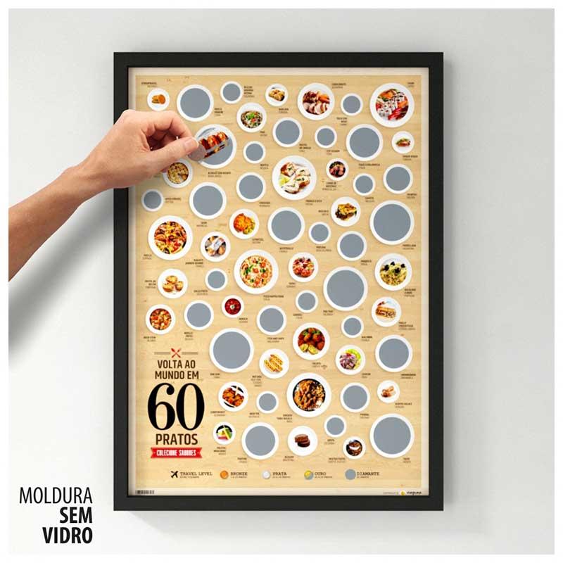 Quadro Raspadinha - Volta ao Mundo em 60 Pratos - Colecione Sabores Únicos (45x63cm)