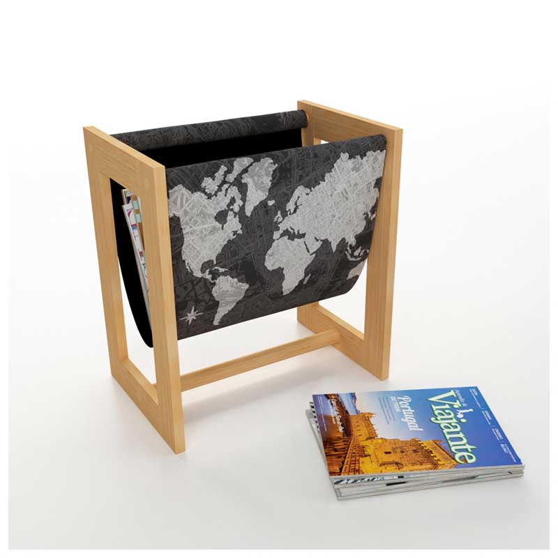Porta Revistas - Revisteiro Mapa-Múndi Black - Adventure Awaits (37x40x25cm)