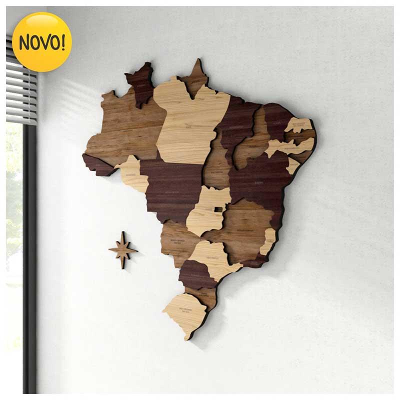 *SOB ENCOMENDA - Mapa do Brasil MDF c/ Divisão e Nome dos Estados + 150 Pins Adesivos (84x85cm / 110x110cm)