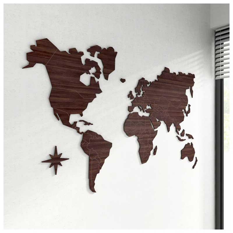 SOB ENCOMENDA - Mapa-Múndi MDF Gigante - Tamanho XXG (200x114cm) + 150 Pins Adesivos
