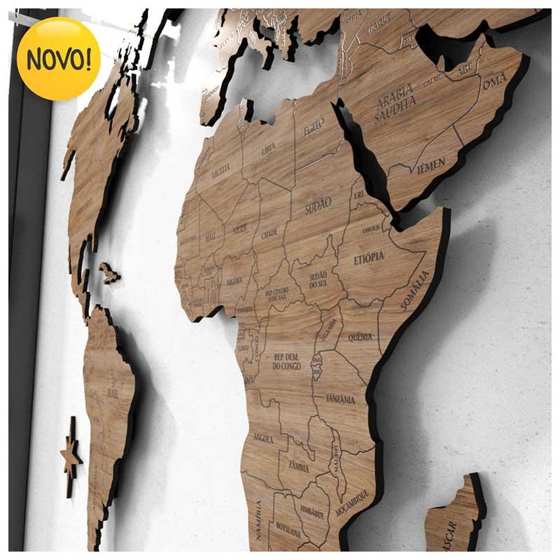 *SOB ENCOMENDA - Mapa-Múndi MDF Ultra c/ Nome e Divisão Países + Espaçadores (Efeito Flutuante) - Madeirados + 150 Pins Adesivos (140x75/170x92cm)