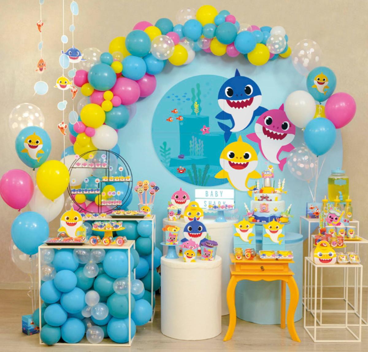 100 Balão Bexiga 8 Pol (Pink + Azul Baby)+ 100 Balão 6,5 (Branco + Amarelo) Festa Baby Shark