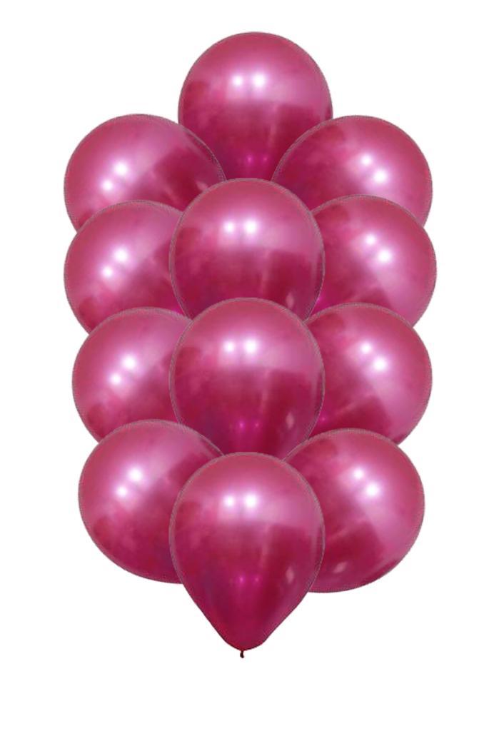 10  Balão Bexiga  Fucsia 5 Polegadas Latex Cromado Metalizado