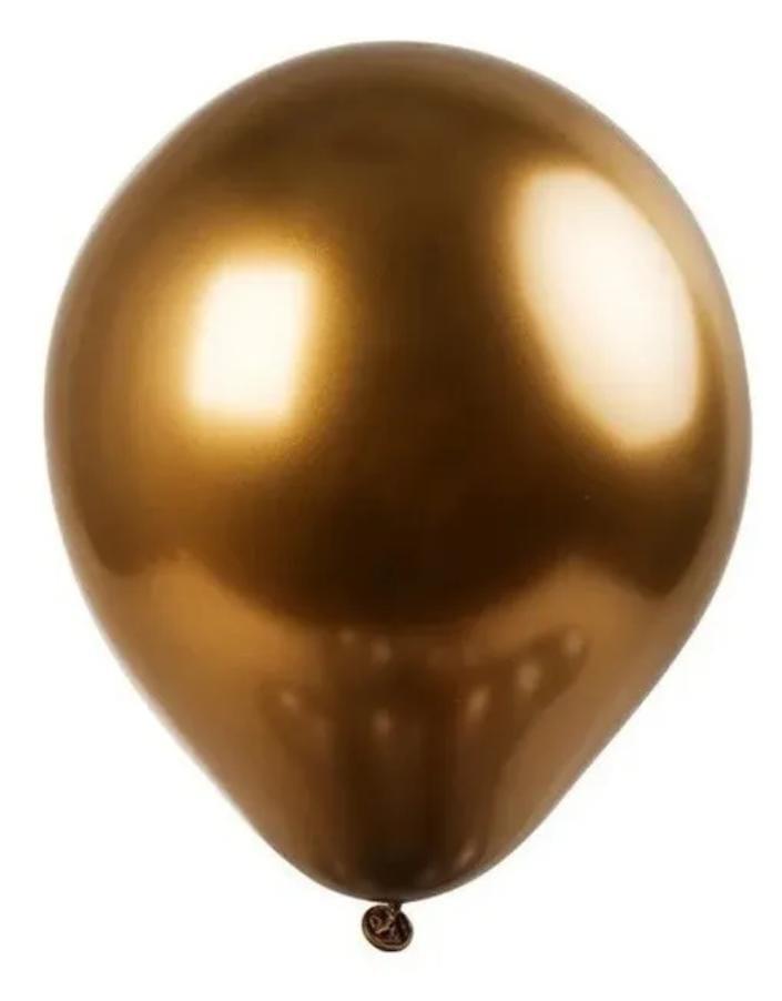 10  Balão Bexiga  Marrom Bronze  5 Polegadas Latex Cromado Metalizado