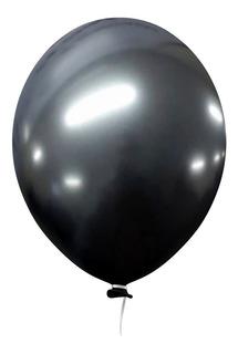 10  Balão Bexiga Preto 5 Polegadas Latex Cromado Metalizado