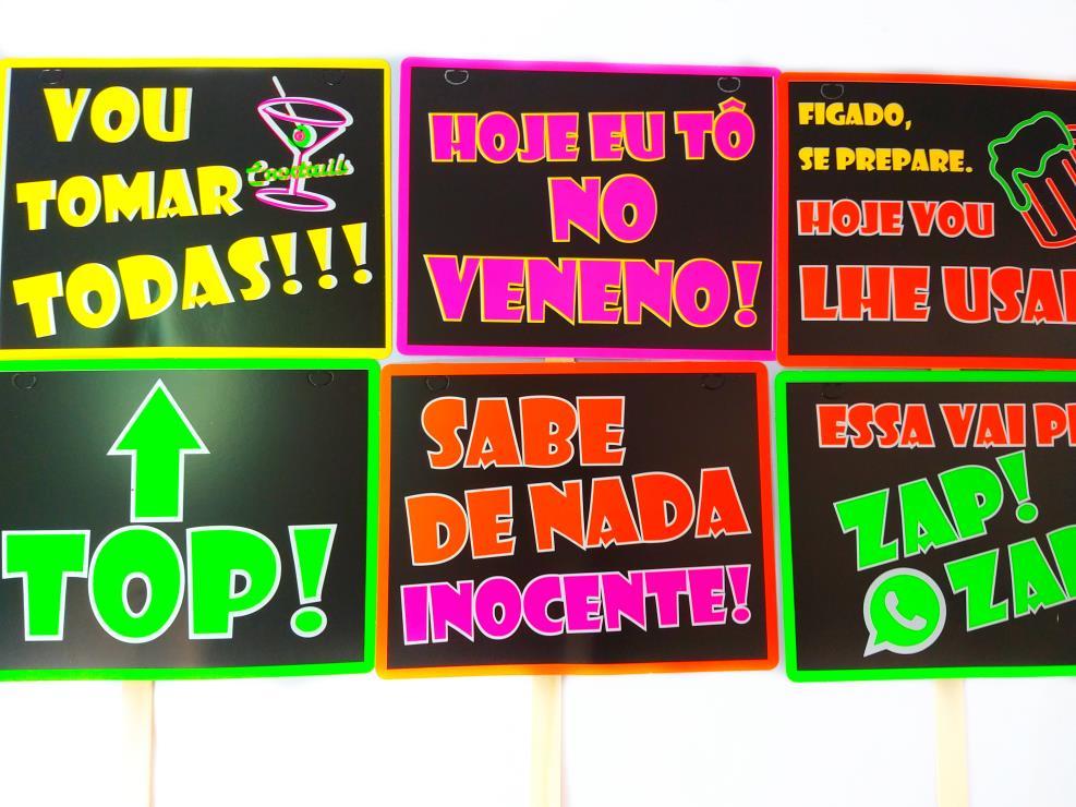 10 Plaquinha DIVERTIDA NEON Festa Balada Com Palito Atacado