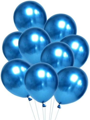 10 Unid Balão Bexiga Azul  9 Pol Cromado Metalizado