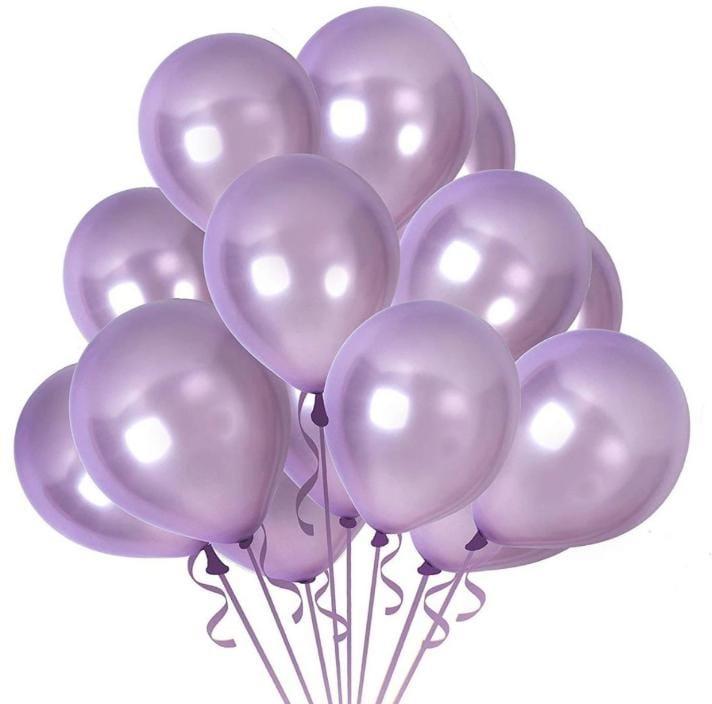 10 Unid Balão Bexiga Lilás 9 Pol Cromado Metalizado