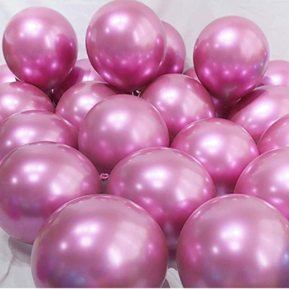 10 Unid Balão Bexiga Pink 9 Pol Cromado Metalizado
