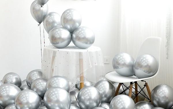 10 Unid Balão Bexiga Prata 9 Pol Cromado Metalizado
