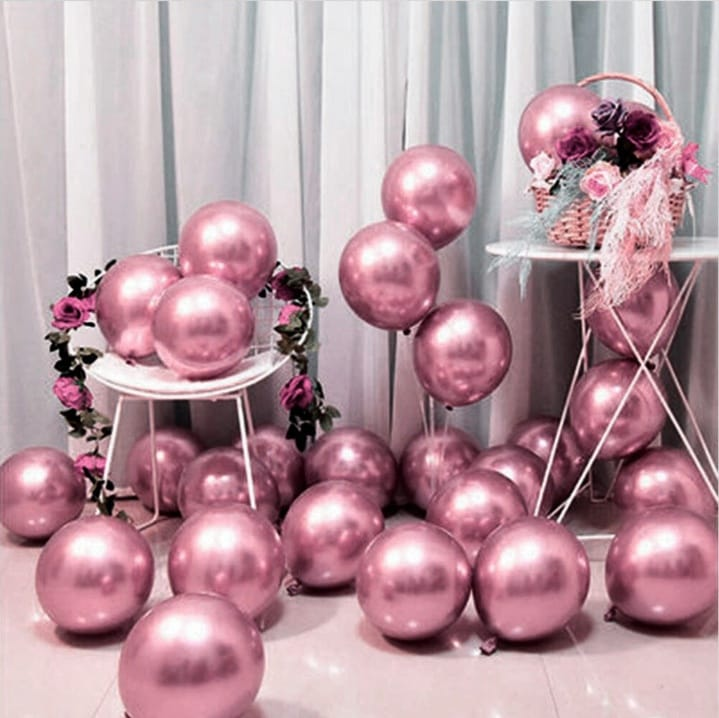 10 Unid Balão Bexiga Rose  9 Pol Cromado Metalizado