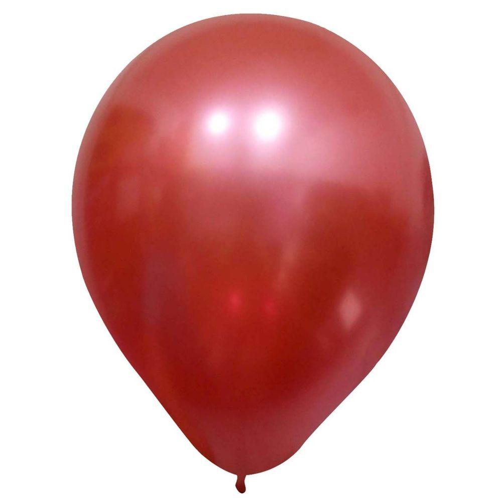 10 Unid Balão Bexiga Vermelho 9 Pol Cromado Metalizado