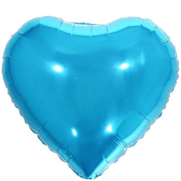 10 Unid - Balão Coração 18 Pol Azul Claro  Metalizado Festa Casamento