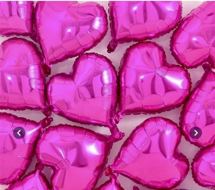 10 Unid - Balão Coração 18 Pol Pink Metalizado Festa Casamento
