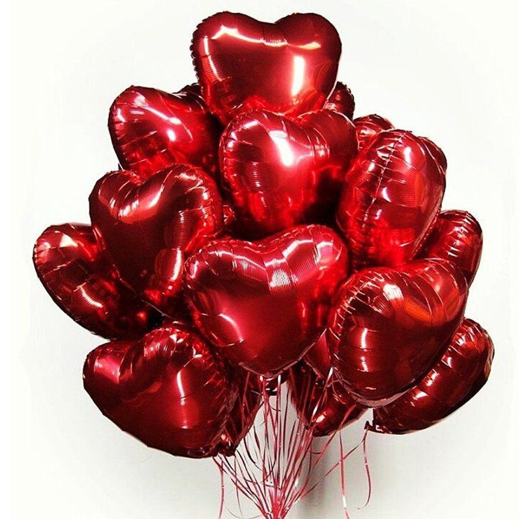 10 Unid - Balão Metalizado Coração 10 Pol Festa Casamento