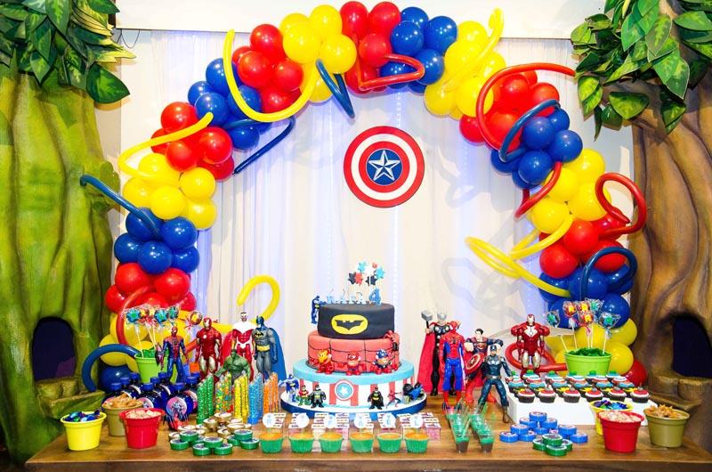 150 Balão Bexiga 8 Pol Amarelo + Vermelho + Azul Escuro Festa Herois Vingadores