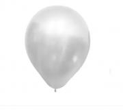 10 Unid Balão Bexiga Branco Gelo  9 Pol Cromado Metalizado Cinza