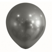 10 Unid Balão Bexiga Chumbo 9 Pol Cromado Metalizado Cinza