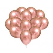 10 Unid Balão Bexiga Rose Gold 9 Pol Cromado Metalizado